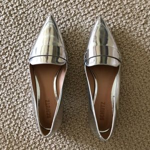 Schultz Elise silver pointy toe flats